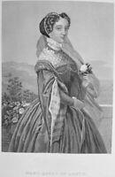 MARY STUART QUEEN OF SCOTS SCOTLAND CONSORT FRANCE ~ 1869 Art Print Engraving