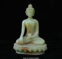Old Chinese Natural Green Jade Carved Seat Shakyamuni Amitabha Buddha Statue
