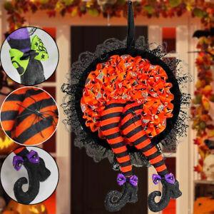 Halloween Witch Garland Wreath Door Party Outdoor Yard Decor Props Pumpkin Decor