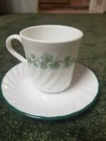 Set of 5 Corelle Corningware Callaway Green Ivy Pattern Coffee Cups  And Saucers