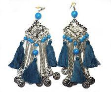 Earrings Extra Long Chandelier Blue Coins Beads & Tassels 15cm Evening Festival