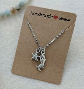 Silver mermaid star fish charm necklace Summer beach necklace Great gift