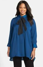 Melissa McCarthy Seven7 Bow Neck Tunic Blouse (Plus Size) (size 2X)