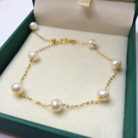 """7.5-8"""" Gorgeous AAA+ 5-6mm real natural Akoya white round pearl bracelet 14k"""