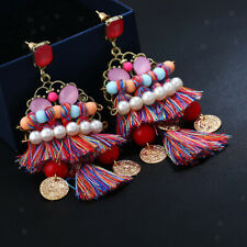 Women's Boho Long Tassel Crystal Pearls Earrings Ear Stud Dangle Jewelry
