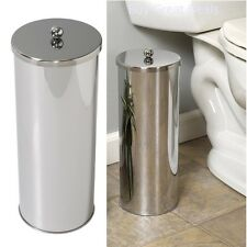 TOILET PAPER HOLDER ROLL CANISTER BATHROOM STORAGE TISSUE CHROME STAINLESS STEEL