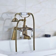 Antique Brass Deck Mounted Bathroom Tub Faucet Sink Mixer Tap Hand Shower Pan013