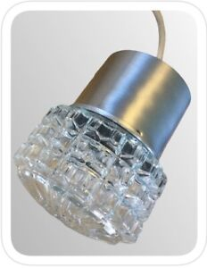 Retro Vintage 1970's Faceted Clear GLASS Pendant Ceiling Light