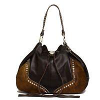 Raviani Western Brown Pebble grain & Brindle Leather Drawstring Bag W/ Crystals