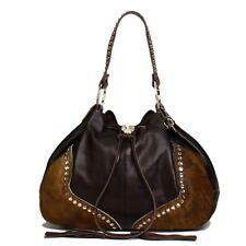 Raviani Brown Pebble grain & Brindle Leather Drawstring Bag W/ Crystals
