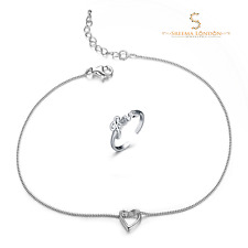 925 Sterling Silver Open Heart Anklet with Love Toe Set with Cubic Zirconia