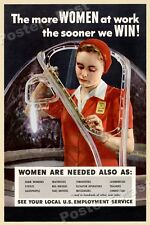 """1940s """"Women at Work"""" WWII Historic War Poster - 16x24"""