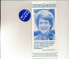 Louisiana LA Lindy Boggs for U.S. Congress campaign button & brochure