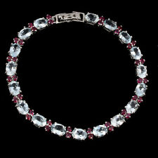 Unheated Oval Aquamarine Rhodolite Garnet 925 Sterling Silver Bracelet 8 Ins
