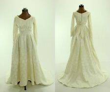 1950's Brocade Wedding Gown Dress XS S Long Train VTG 50's Full Skirt 25 Waist