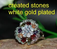 max color stones 12x12mm flower ring size N 7