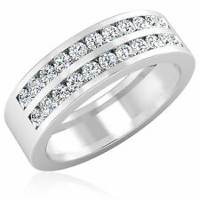 14K White Gold Mens Rings 0.88 ct Diamond Wedding Band I-J/SI1 Size R W U V