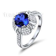 Round 7mm 14Kt White Gold Gorgeous Wedding Diamond Tanzanite Ring WU257