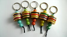 5 Handmade Art Deco-Style BEAD AND BUTTON KEY CHAIN Key Ring Party Favor