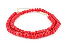 Super Jumbo Padre-Sized Red White Heart Beads 9mm Ghana African Round Glass