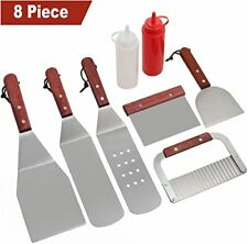 Home BBQ Griddle Accessories Kit Heavy Duty Stainless Steel Tool Set 8 Pcs Gift