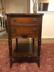 Antique Mid Century Chinese end table chippendale Fretwork w/ Drawer Shelf #6095