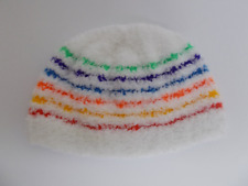 921fc9eff0d43 Hand Knitted Baby Hat Beanie White Fluffy Effect with Rainbow Stripe 0-6  month