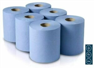 2ply Blue roll 6 Pack Centrefeed Embossed Tissue Kitchen Towel Hand Wipes