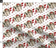 Dog Hearts Yorkie Parti Biewer Parti Yorkie Catia Spoonflower Fabric by the Yard
