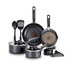 T-Fal 10pc Simple Stack Non-Stick Cookware Pot Pan Set Black
