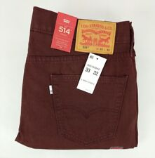 Levis 514 mens size 33x32 pants red burgundy straight fit MSRP $59.50 A2-6