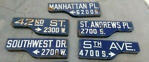 Vintage 42nd st Southwest Manhattan 5th ave  Los Angeles Porcelain Street Signs