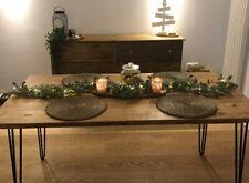Industrial Solid Pine Dining Table Reclaimed Wood Metal Hairpin Legs