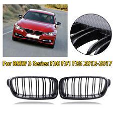 For BMW F30 F31 3 Series Kidney Grill Grille Carbon Fiber Black Sport 2012-2016