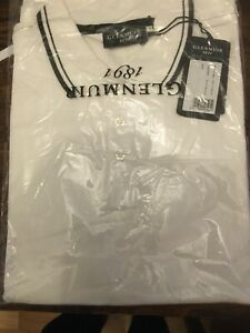 mens glenmuir polo shirt white size L