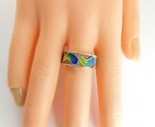 & Green Enamel Peacock Colours Vintage 800 Silver Filigree Ring Blue