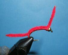 6QTY TWO TONE SAN JUAN WORM TAN FLY FISHING FLIES SIZE10