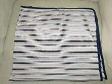 Carters Cotton Stripe Baby Receiving Blanket Blue Tan Brown Gray Jersey Knit