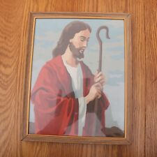 Vintage Paint by Number Jesus With Shepards Staff Framed