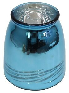 Blue Electroplated Metallic Glass Flower Vase Wide Mouth Swirl Design