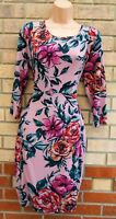 NINA LEONARD PINK GREEN FLORAL LYCRA LONG SLEEVE JERSEY A LINE SHIFT DRESS 14 L