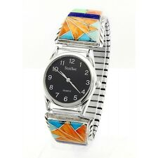 Native American Sterling Silver Mens Watch with Inlay