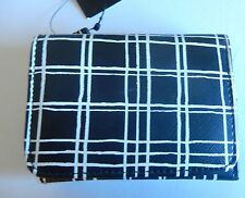 Wilson's Leather Ann wallet-plaid pattern-trifold small-black and white