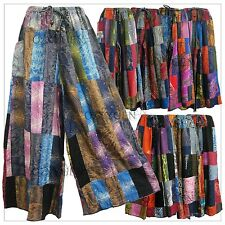 New  Patchwork Wide Leg Pants Palazzo Lagenlook Bohemian Gypsy Hippie Trousers