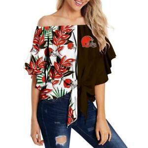 Cleveland Browns Women's Off the Shoulder Blouse Top Ladies Casual Sexy T Shirt