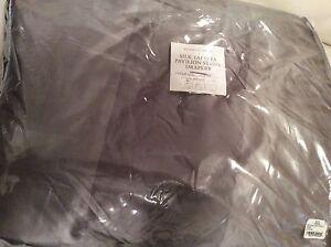 Restoration Hardware Silk  Pavilion Stripe Inverted Pleat Drape Fog Grey 48x84