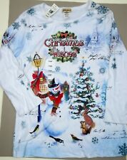 Women's Studio Gem Christmas Wishes Embellished Graphic Tee T-Shirt L Large NEW