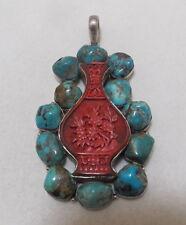 Huge Vtg Hand-Carved Cinnabar Turquoise Sterling Silver Pendant 66gr Signed
