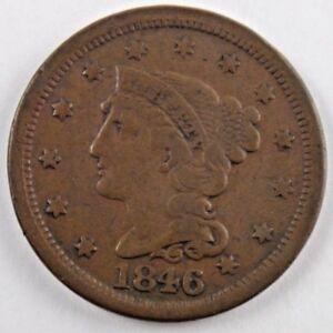 1845 1C BN Braided Hair Cent Us Mint Coin