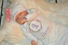 Personalized Baby Gown and Hat with Bow, Monogram baby pink lavender flower